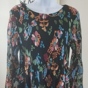 Philosophy floral midi dress, sheer arms sz M